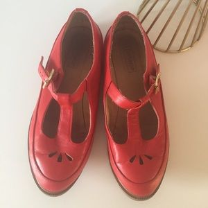 EUC Topshop Red Leather Mary Jane Flats